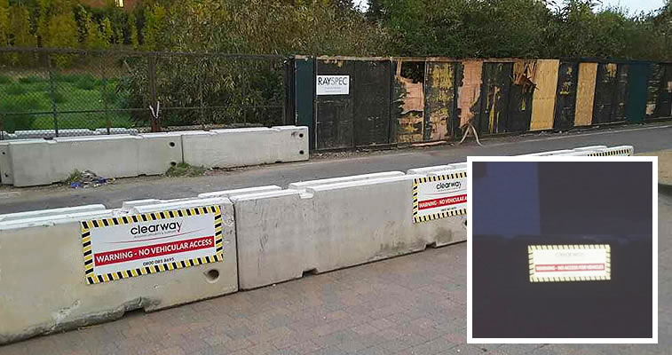 Concrete Barriers And Reflective Signs